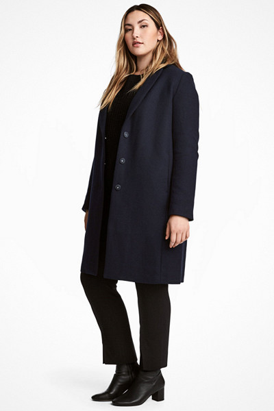 H&M+ mörkblå kappa