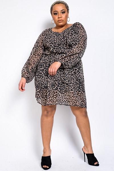 Madlady leopardmönstrad klänning Leo Leo