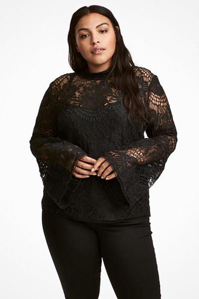 H&M+ svart tröja i spets