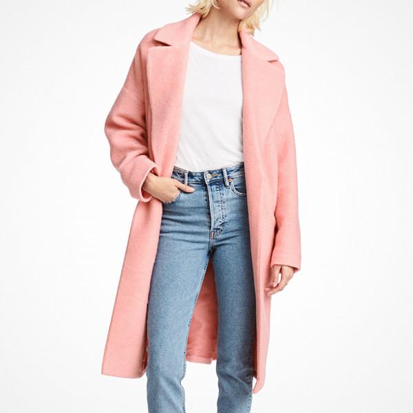 H&M ljusrosa kappa i ullmix