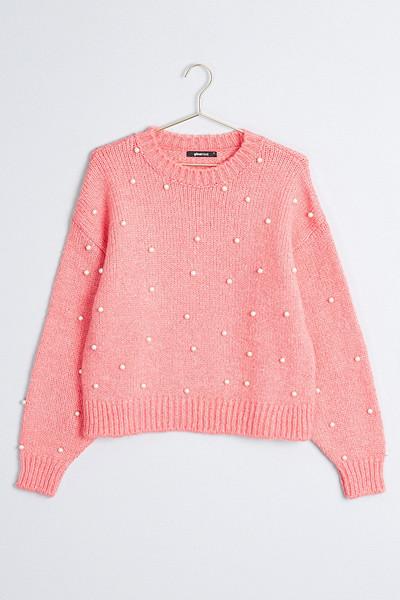 Gina Tricot rosa stickad tröja med pärlor Daliah