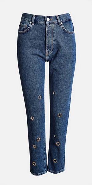 Bik Bok höga mom-jeans med eyelet-dekorationer längs benen