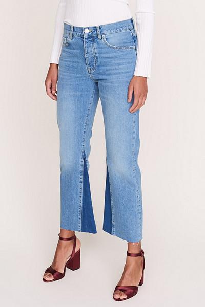 Gina Tricot kick flare jeans med hög midja och råa kanter