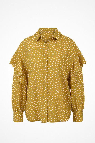 Selected Femme prickig honungsgul blus med volang