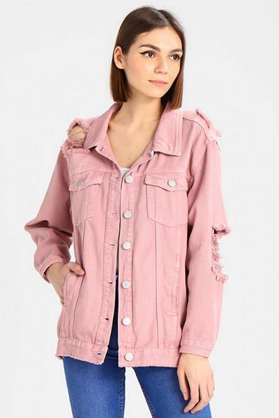 Glamorous rosa jeansjacka med slitningar