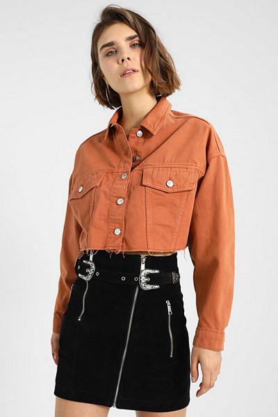 Topshop roströd jeansjacka i croppad modell