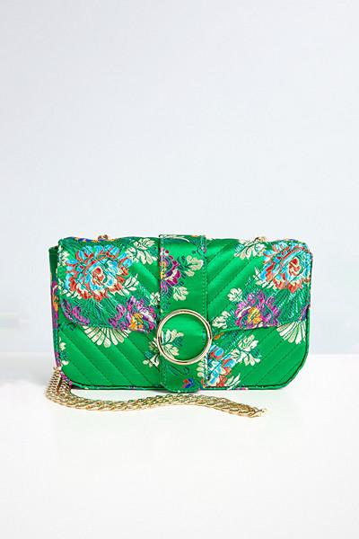 Gina Tricot grön blommig väska