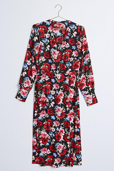 Gina Tricot röd blommig omlottklänning