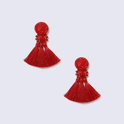 Gina Tricot röda örhängen med fransar