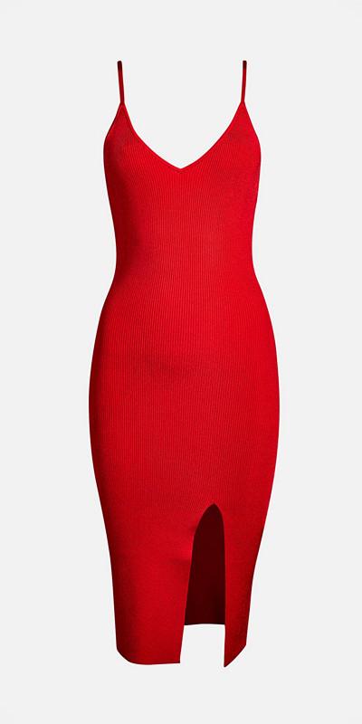 Bik Bok röd figurnära klänning med smala axelband