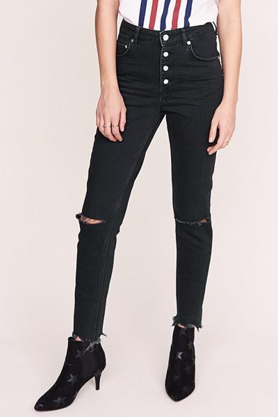 Anine Bing x Gina Tricot svarta slim jeans med hög midja och slitningar på knän