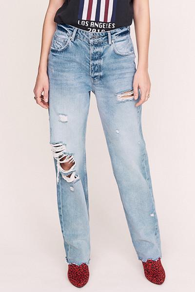 Anine Bing x Gina Tricot raka jeans med slitningar