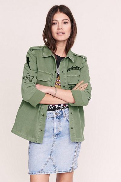 Anine Bing x Gina Tricot grön armyjacka i jeansmaterial