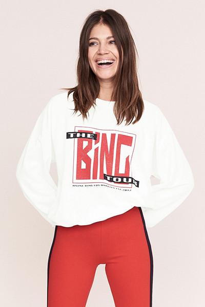 Anine Bing x Gina Tricot vit collegetröja med print