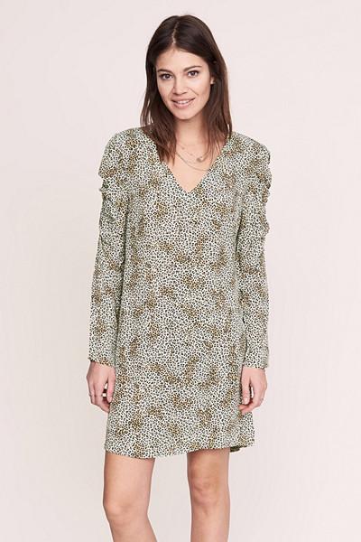 Anine Bing x Gina Tricot leopardmönstrad klänning med puffiga ärmar