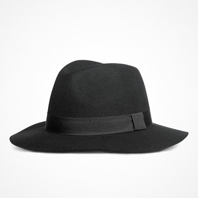 H&M svart hatt i filt