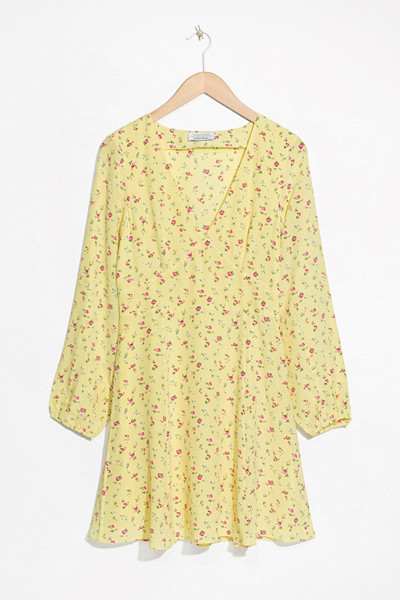 & Other Stories gul långärmad blommig klänning