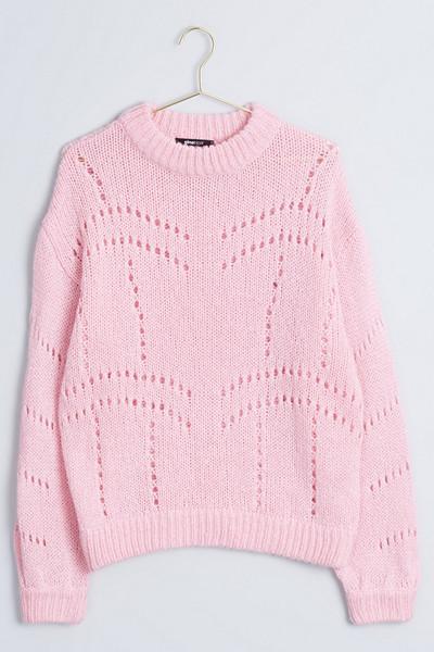 Gina Tricot rosa hålstickad tröja