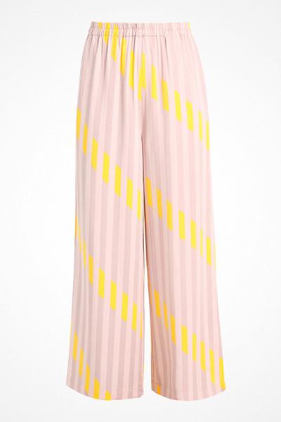 Selected Femme rosa och gula tygbyxor med hög midja och vida ben