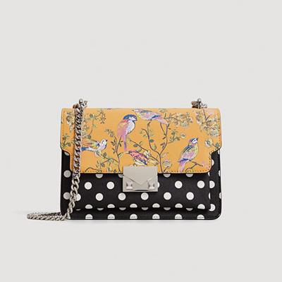 Mango tvåmönstrad handväska med tunn metallkedja