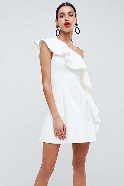 ASOS vit klänning med volanger