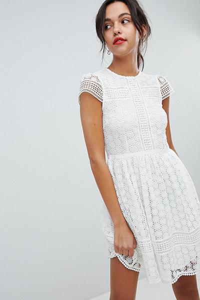 French Connection vit spetsklänning