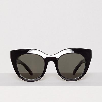 Le Specs svarta halvrunda solglasögon i oversize-modell