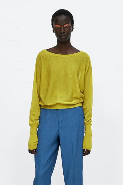 Zara gul strickad tröja