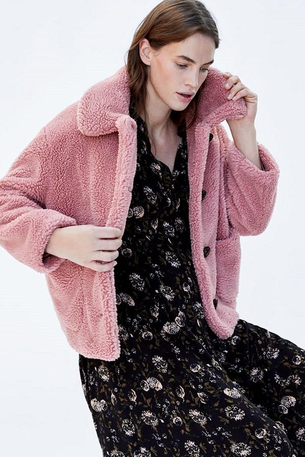 Zara kort teddyjacka i rosa
