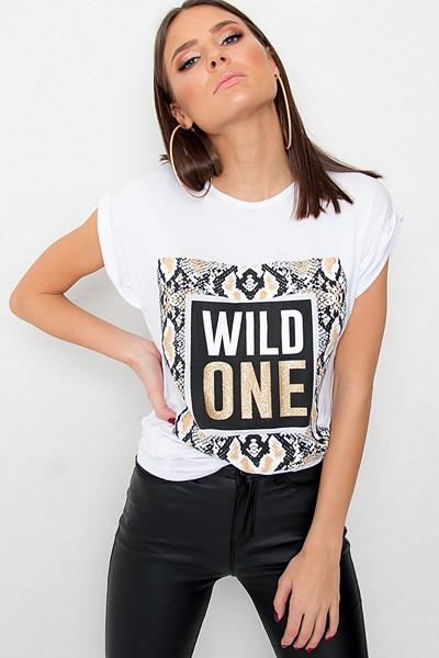"JFR vit t-shirt med tryck ""Wild One"""