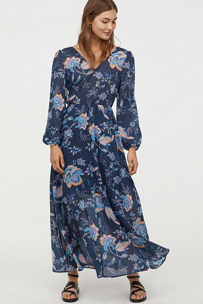 H&M mörkblå blommig långklänning