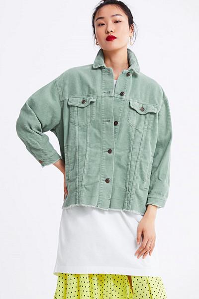 Zara mintgrön manchesterjacka med råa kanter