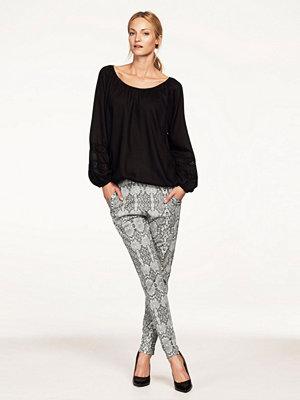 Ellos ljusgrå mönstrade byxor Trikåbyxa med paljetter