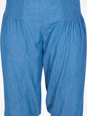 Zizzi blå byxor Byxa med resår i benslut