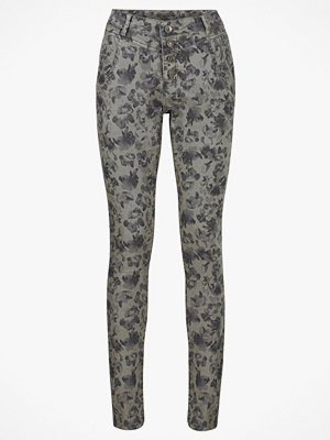 Cream grå byxor med tryck Byxa Flower Pants Bailey Fit