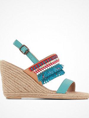La Redoute Sandaletter i skinn med kilklack, pärlor och fransar