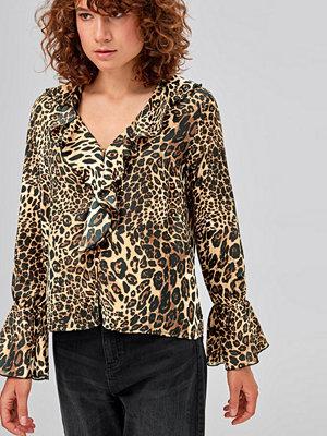 Ellos Volangblus Robyn, leopardmönstrad