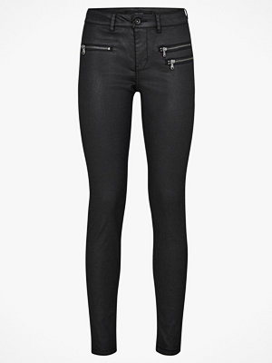 Vero Moda Byxor vmSeven MR Slim Coated Zipper Pant svarta