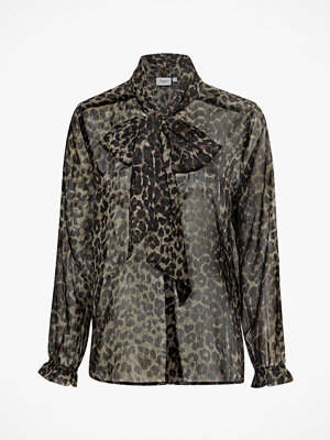 Saint Tropez Knytblus Animal Shirt Bow, leopardmönstrad