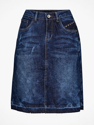 Cream Jeanskjol Patched Denim Skirt