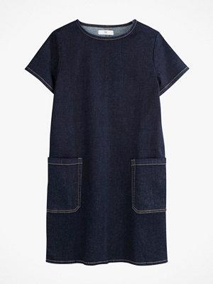 La Redoute Rak jeansklänning med rund halsringning och kort ärm
