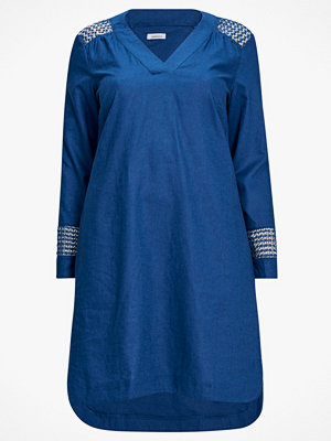 La Redoute Rak klänning i linneblandning med spetsdetaljer
