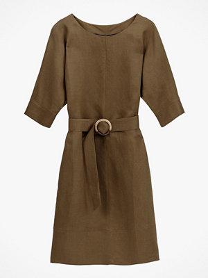 La Redoute Rak klänning i linneblandning med armbågslång ärm