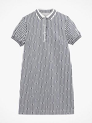 La Redoute Mönstrad klänning med krage och kort ärm, i kort, rak modell