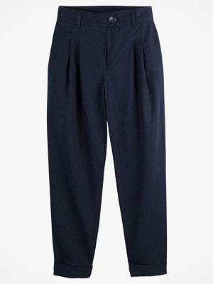 La Redoute marinblå byxor Rak byxa med hög midja, veck och uppvikt benslut