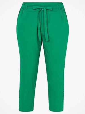 La Redoute gröna byxor Smal byxa i linneblandning