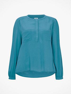 La Redoute Blus med liten ståkrage, påsydda fickor och lång ärm