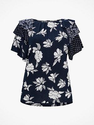 La Redoute Blus med rund halsringning och blommigt patchwork-motiv