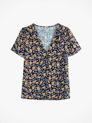 La Redoute Blommig blus med V-ringning och kort ärm