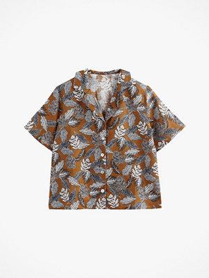 La Redoute Blommönstrad skjorta med krage med slag i linneblandning